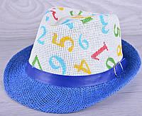 """Детская шляпа челинтано """"Цифры""""  для мальчиков. Размер 52-54 см. Синяя. Оптом."""