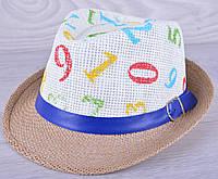 """Детская шляпа челинтано """"Цифры""""  для мальчиков. Размер 52-54 см. Какао. Оптом."""
