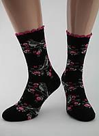 Носки женские хлопок разноцветные черные с птицами на ветке Ж-900031