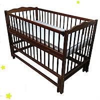 """Кроватка детская буковая """"Дубок"""" маятник , откидной бок , цвет тик и орех ,"""