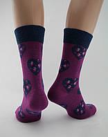 Носки женские хлопок разноцветные фиолетовые с сердечком и широкой резинкой Ж-900032