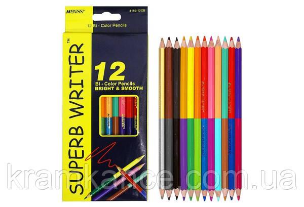 Карандаши цветные MARCO Superb Writer 4110-12СВ двусторонние 12шт, 24цв., фото 2