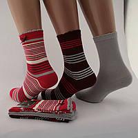 Носки женские хлопок разноцветные в полоску комплект из трёх пар с волнистой резинкойЖ-900033