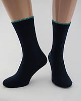 Носки женские хлопок разноцветные темно-синие с зеленой волнистой резинкой Ж-900034