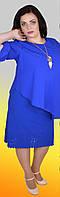 Деловое стильное платье-имитация двойки с лазерной обработкой по подолу, большие размеры
