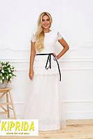 Длинное платье в пол с кружевом и сеткой