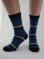 Носки женские хлопок разноцветные черные в синюю полоску Ж-900037