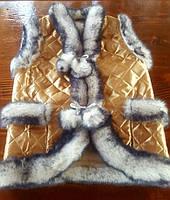Жилетка из овчины золотого цвета на завязку S - XL