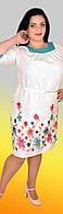 Льняное платье с вышивкой, большие размеры