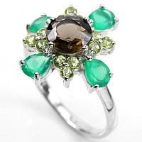 Серебряное кольцо с натуральным раухтопазом,хризолитом и авантюрином