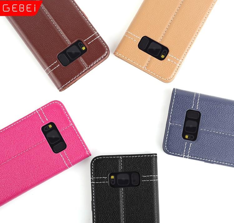 """Samsung G955F S8+ PLUS оригинальный чехол книжка кожаный натуральная телячья кожа для телефона """"GEBI"""""""