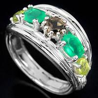 Серебряное кольцо с натуральным раухтопазом,авантюрином и хризолитом