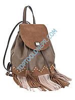 Сумка-рюкзак коричневая с бахромой, 25*21.5*21