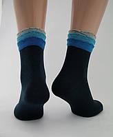 Носки женские хлопок разноцветные черные с оригинальной трёхъярусной резинкой Ж-900039