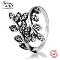 """Серебряное кольцо Пандора (Pandora) """"Сверкающие листья"""""""