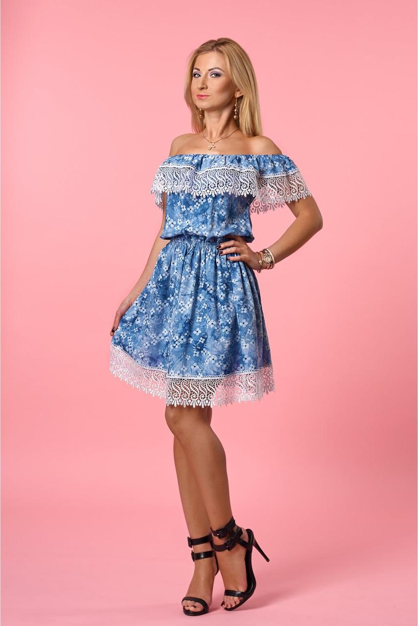 Легкое летнее короткое открытое платье с изумительным кружевом 50-52