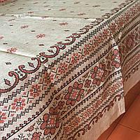 Скатерть льняная  с украинским орнаментом вышитая всех размеров