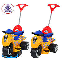 Каталка-толокар 138 (1шт) мотоцикл, 3 колеса, от 10мес, желтый с синим, в кор-ке, 93-51-98см