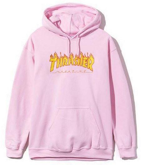 Толстовка розовая Thrasher Flame Logo