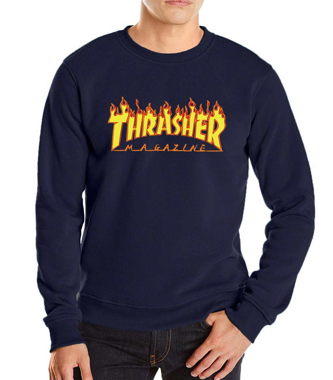 "Свитшот мужской с принтом ""Thrasher Magazine"" т синий   Кофта"