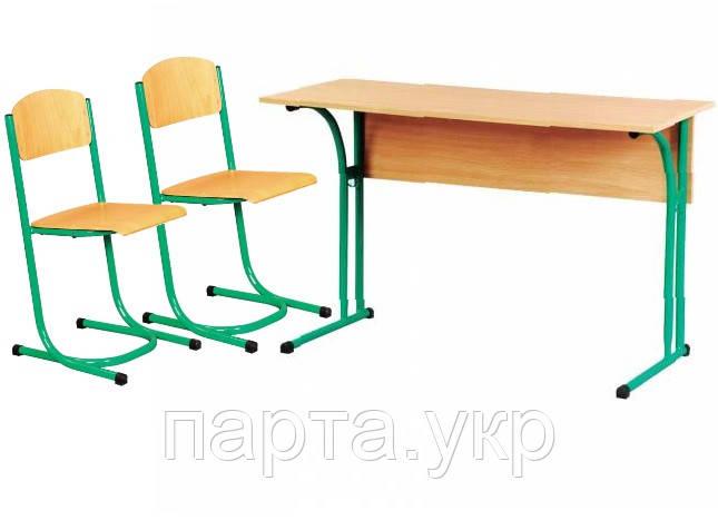 Растущий комплект парта и стулья ( с закругленной столешницей и полкой)