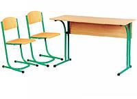 Растущий комплект парта и стулья ( с закругленной столешницей и полкой), фото 1