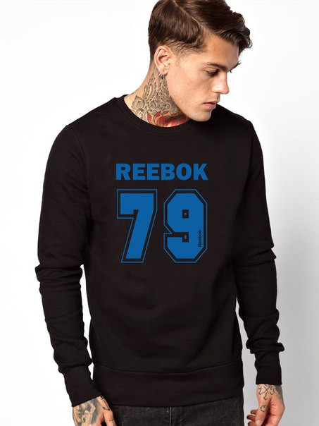 Мужской Свитшот Reebok 79(синий принт)