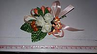 Свадебная персиковая бутоньерка