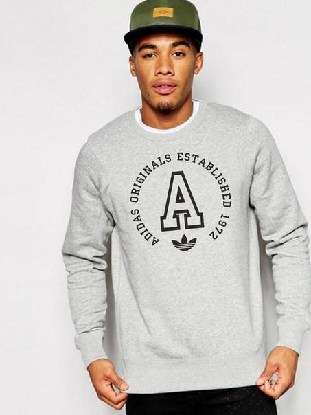 Мужской Свитшот Adidas серый с принтом