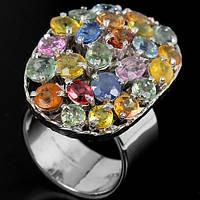 Сапфиры цветные Танзания, серебро 925, кольцо, 463КС