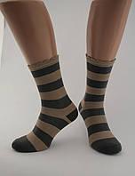 Носки женские хлопок разноцветные в широкую черно-коричневую полоску с волнистой резинкой Ж-900044