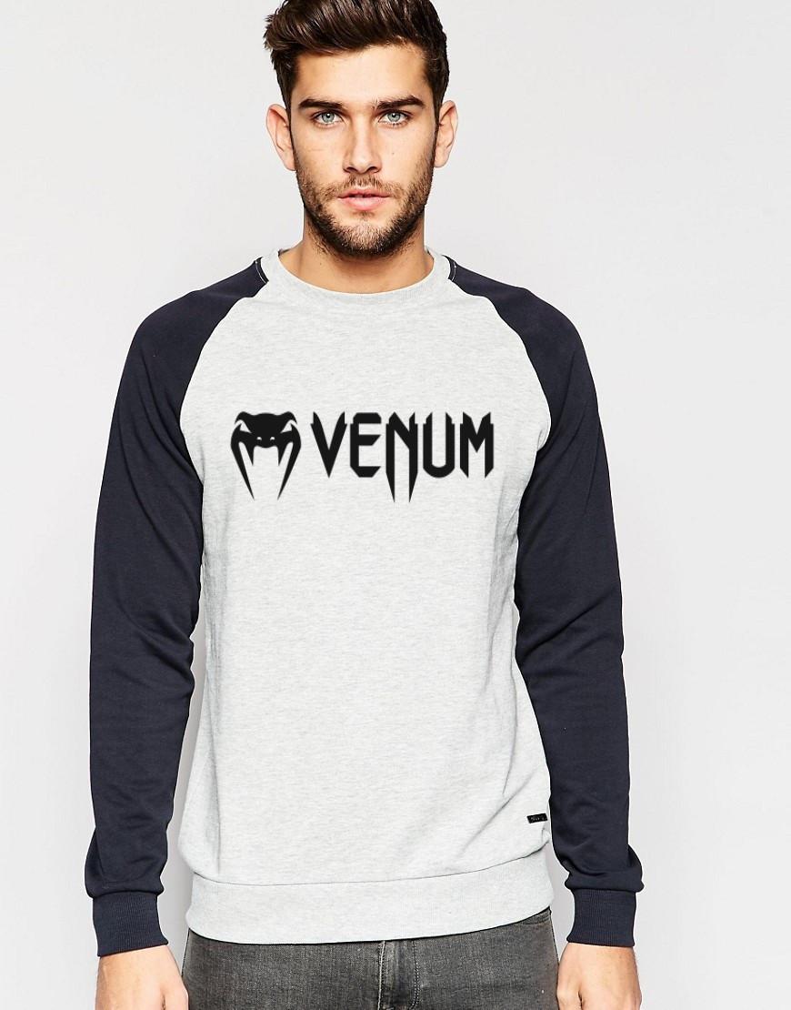 Мужской Свитшот с принтом Venum(черный рукав)