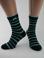 Носки женские хлопок разноцветные черные в зеленую полоску с бантиком и волнистой резинкой Ж-900045