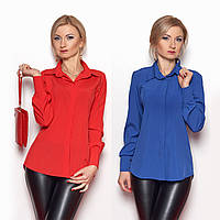 Женская шелковая рубашка со скрытыми пуговицами