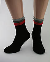 Носки женские хлопок разноцветные черные с оригинальной трёхъярусной резинкой Ж-900046