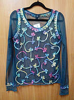 Блузка - сетка женская зеленая с розовой вышивкой, 44-48 размеры