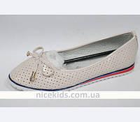 Детские и подростковые туфли балетки, пудра Bessky 32-37р