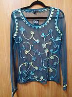 Блузка - сетка женская зеленая с желтой вышивкой, 44-48 размеры