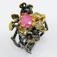 Кольцо ручной работы с розовым РУБИНОМ и АКВАМАРИНОМ, эксклюзив