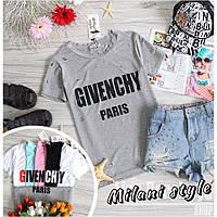 Женская футболка Дживанши Givenchy с дырками ткань вискоза серая