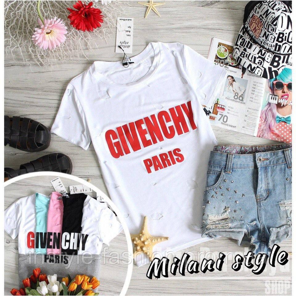 Женская футболка Дживанши Givenchy с дырками ткань вискоза белая с красным