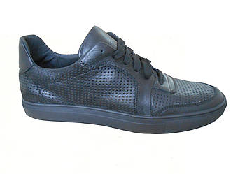 Мужские кожанные кроссовки Gucci  черный