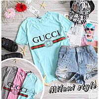 Женская футболка Гуччи Gucci ткань вискоза цвет мята