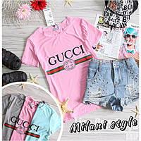 Женская футболка Гуччи Gucci ткань вискоза розовая