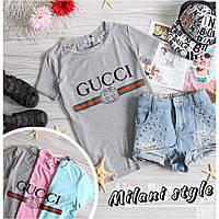 Женская футболка Гуччи Gucci ткань вискоза серая