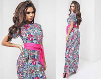 Красивое женское платье в пол из штапеля с поясом и с коротким рукавом  + цвета