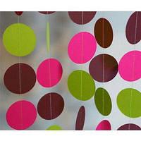 Бумажная гирлянда из кругов, 2 метра лайм микс