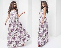 Льняное длинное женское платье-сарафан на бретельках-завязках    + цвета