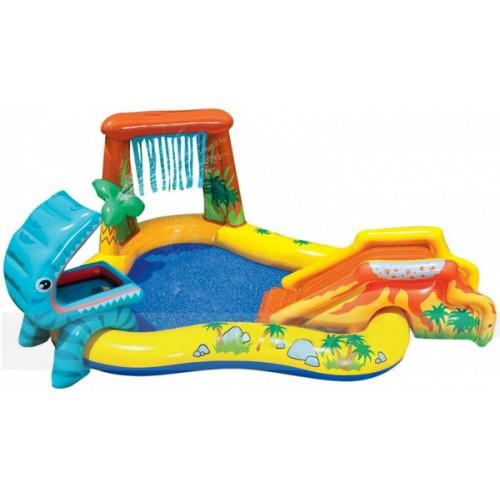 Надувной игровой бассейн Динозавр с горкой, душем и водными игрушками Intex 57444