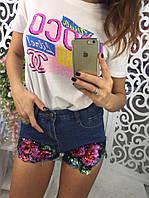 Модные короткие джинсовые шорты синего цвета с цветами из пайеток